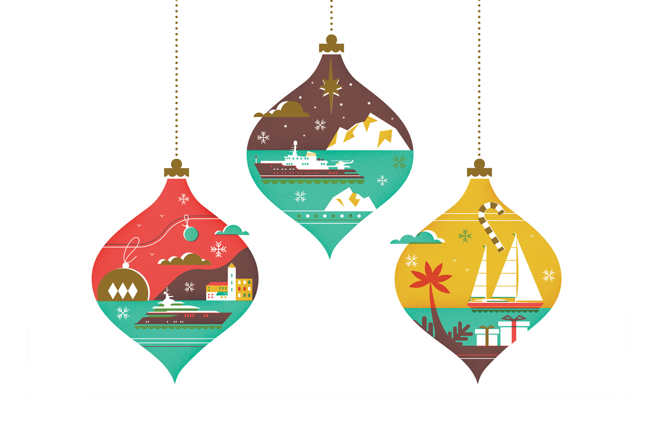 Camper & Nicholsons holiday card illustration by Parko Polo