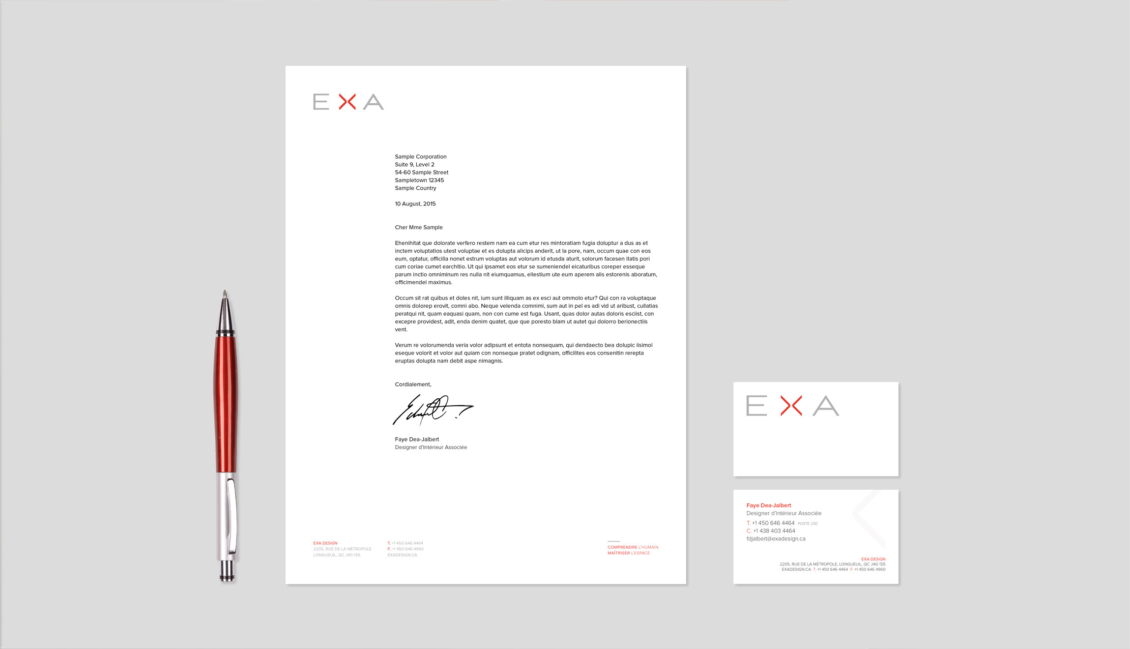 EXA Design stationery suite