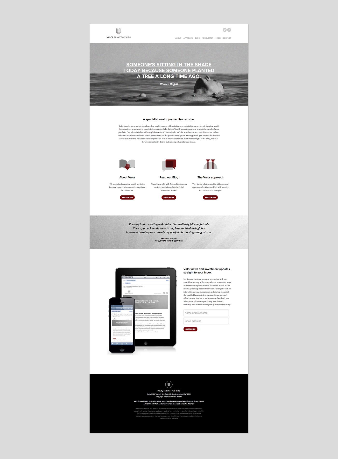 Valor Private Wealth website
