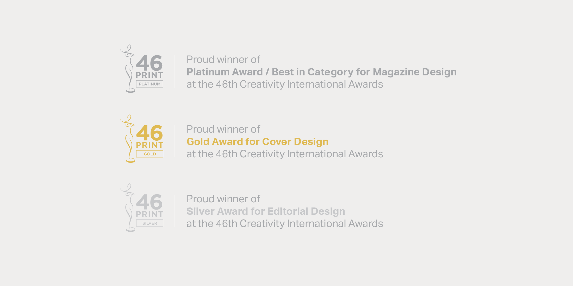 Awards for SEA+I Magazine