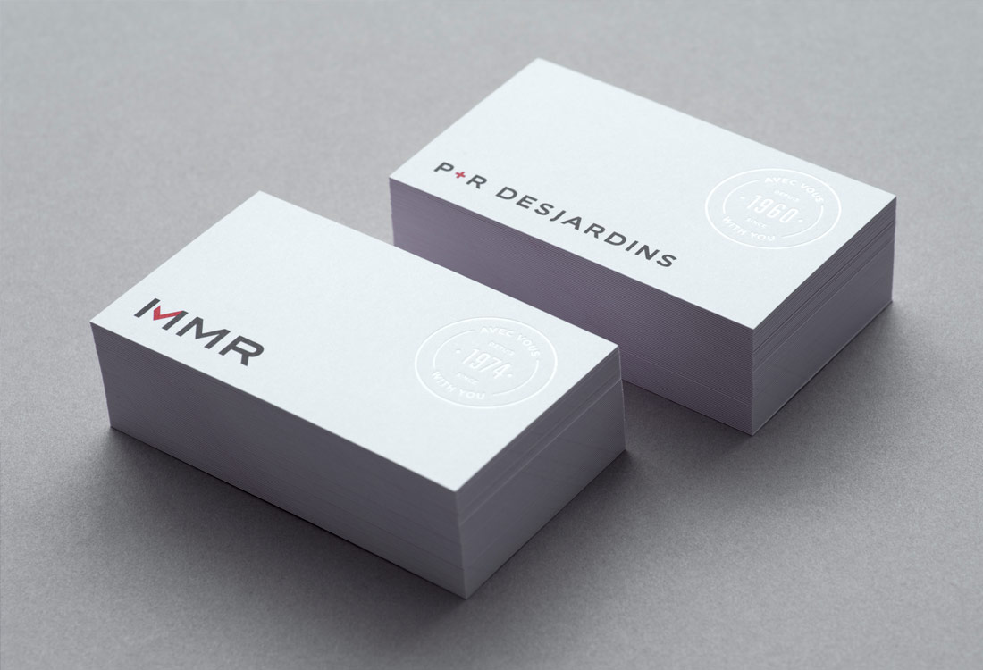 Business cards for P&R Desjardins and MMR