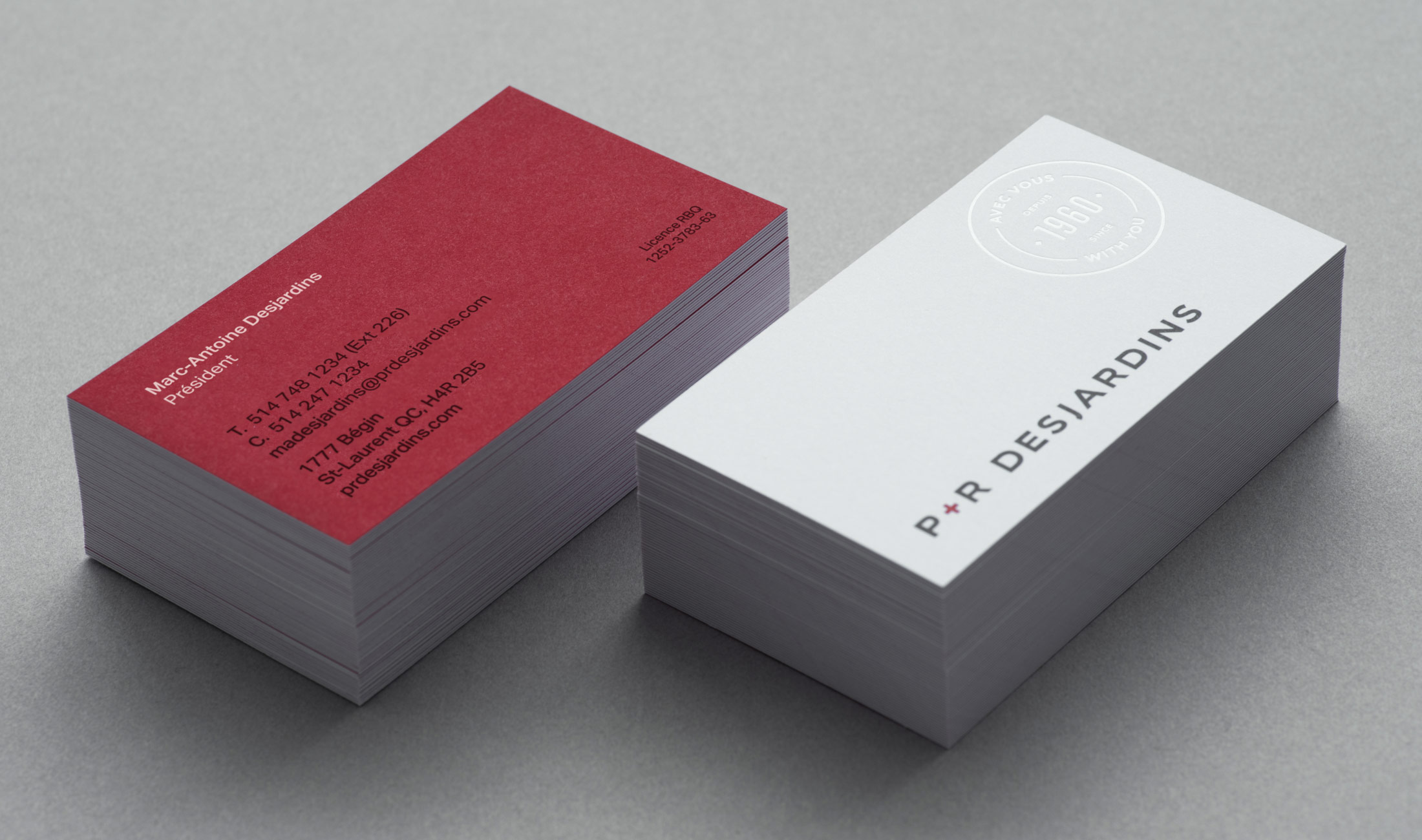 Business cards for P&R Desjardins