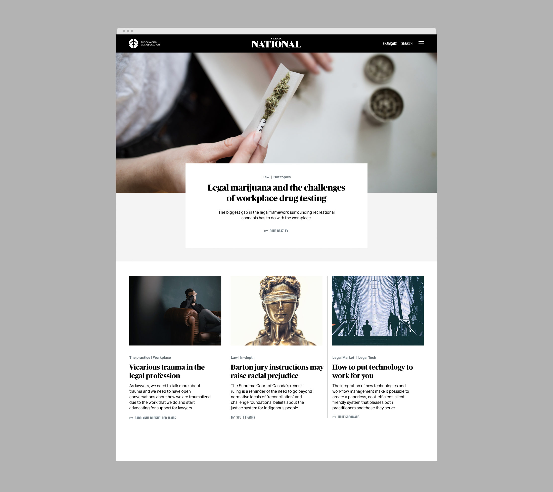 National Magazine website for the Canadian Bar Association