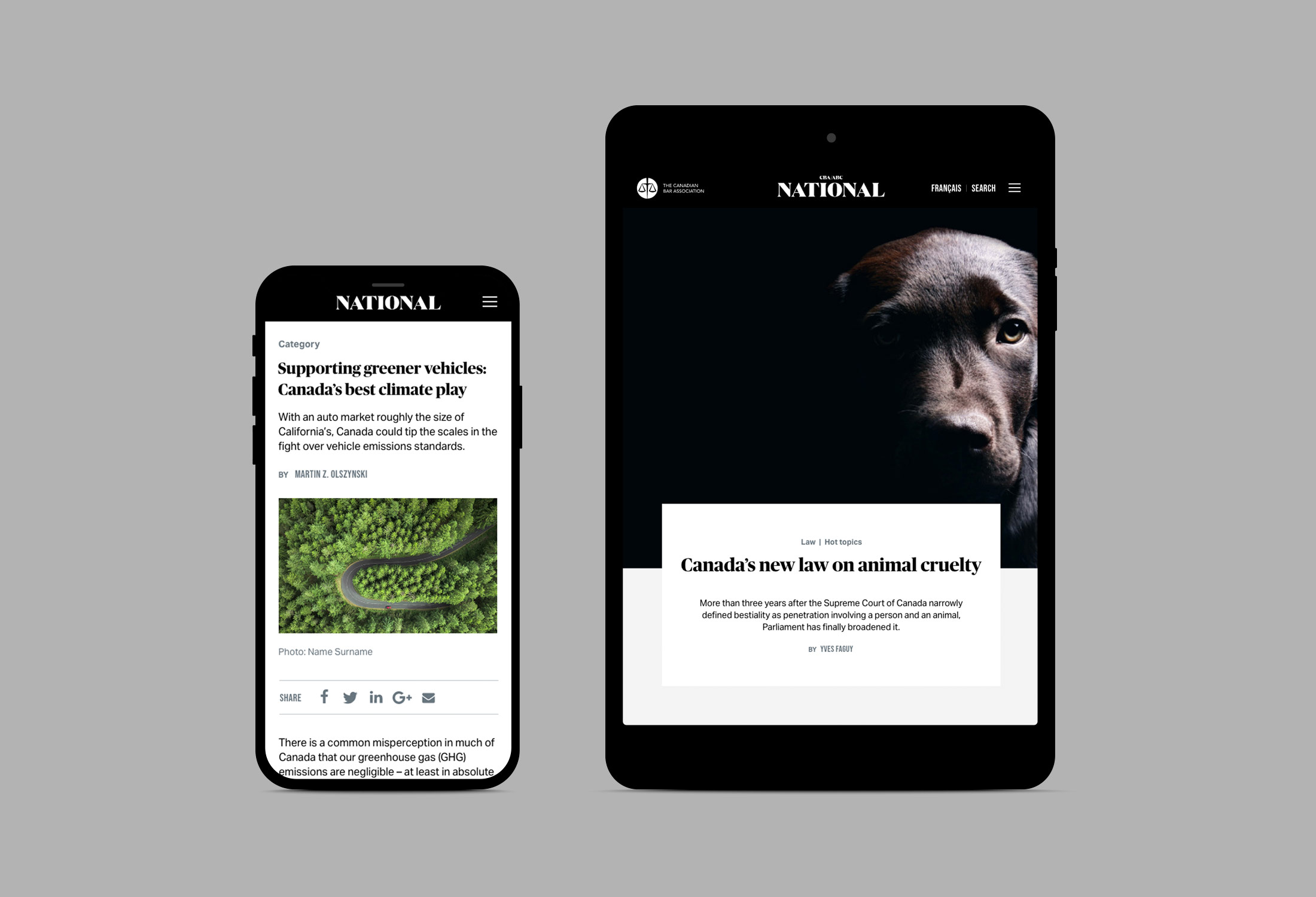 National Magazine website for the Canadian Bar Association
